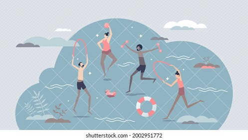 Hydrotherapy and water cure for body disease treatment tiny person concept. Physical exercise for health problem rehabilitation and healing with aquatic power vector illustration. Active SPA therapy.