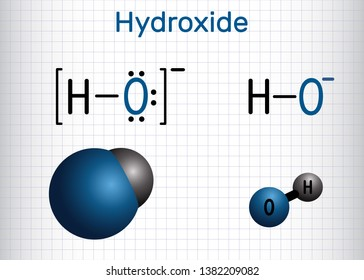 Hydroxide anion. Structural chemical formula and molecule model. Sheet of paper in a cage. Vector illustration