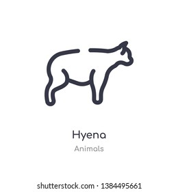 hyena outline icon. isolated line vector illustration from animals collection. editable thin stroke hyena icon on white background