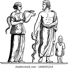 Hygea and Aesculapius vintage illustration.