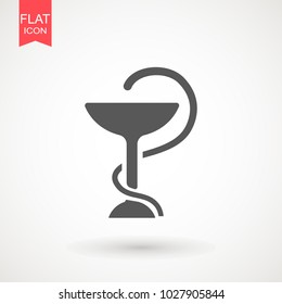 Hygeia bowl, Hippocratic cup, Hospital symbol. Snake with cup pharmaceutical vector sign Emblem for drugstore or medicine.