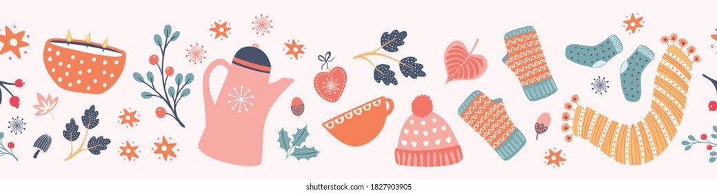 Hygge Autumn and winter pattern border design. Cute and cosy vector seamless repeat banner. Illustration of scarfs, mittens, coffee, winter woodland foliage and stars.