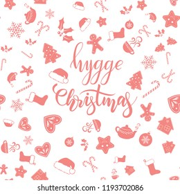 Hygge Christmas brush calligraphy or lettering and seamless background on white. Vector illustration.