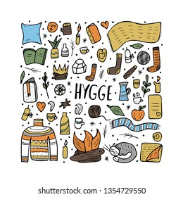Hygge concept. Vector isolated symbols of comfort. Danish living concept.