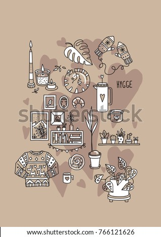 b91aa4188ed8f Hygge is a Danish living concept. Vector template with hand drawn  illustrations cozy home things  candles