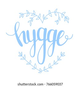 Hygge. Hand lettering on white background in pastel colors on theme of hygge lifestyle. Danish happiness. Vector illustration