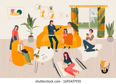 Hygge home big family together, people siiting in scandinavian style room spending time at cosy home flat vector illustration. Mother, father, daughter, grandmother with cat in armchair hyggie home.