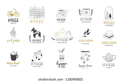 Hygge - Simple Life in Danish, collection of hand drawn elegant and clean logos, elements