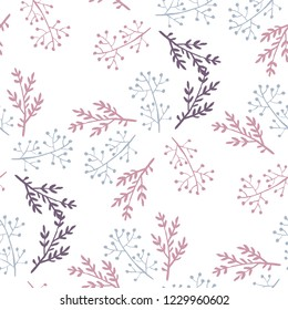 Hygge style hand drawn vector seamless pattern for textile, wallpapers and wrapping paper. Cosy home winter pale palette.