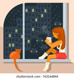 Hygge. Young beautiful girl cat owner sits on the windowsill and drinks hot coffee. Its raining, dark and cold outside. Vector illustration eps 10