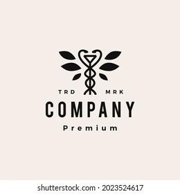 hygiea bowl caduceus leaf tree medical pharmacy hipster vintage logo vector icon illustration