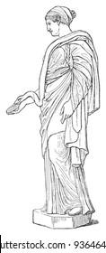 Hygieia (goddess of good health, cleanliness and sanitation) / vintage illustration from Meyers Konversations-Lexikon 1897