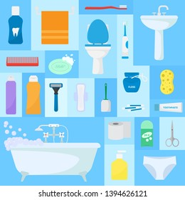 Hygiene accessories vector illustration. Bathroom set, washing, bathing, cleanliness pattern. Bath texture. Soap, towel, toothpaste, toilet, sink, shower bathtub, spray, shampoo, sponge.