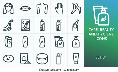 Hygiene and beauty care products set icons. Set of face, body, lips, nail, hand and feet care, hair care, dye, shampoo, gel, spay, balm, soap icons