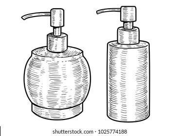 Hygiene bottle illustration, drawing, engraving, ink, line art, vector