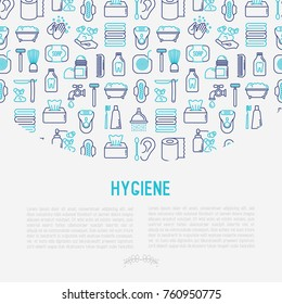 Hygiene concept with thin line icons: hand soap, shower, bathtub, toothpaste, razor, shaving brush, sanitary napkin, comb, ball deodorant, mouth rinse. Vector illustration for banner, web page, print