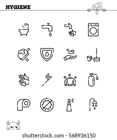 Hygiene flat icon set. Collection of high quality outline symbols for web design, mobile app. Hygiene vector thin line icons or logo.