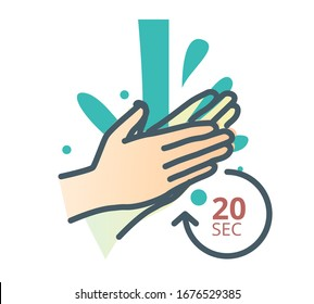 Hygiene - Handwash - 20 Seconds - Stock Icon  as EPS 10 File