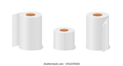 Hygiene household item for restrooms. Toilet paper roll for bathroom and restroom, white soft kitchen towels set. Cute cartoon tissue paper set, roll box, use for toilet, kitchen. Vector illustration.