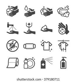 Hygiene Icon. Included the icons as hand wash, soap, alcohol, detergent, anti bacteria, f and more.