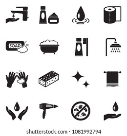 Hygiene Icons. Black Flat Design. Vector Illustration.