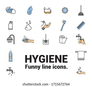 Hygiene icons. Image of soap, bottle soap, water drops, shower, Toothbrush, virus, bacteria, towel, plungertooth, paste, paper, faucet, sponge and hand cream.