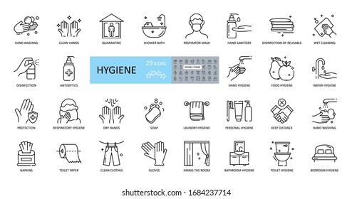 Hygiene icons. Set of 29 images with editable stroke. Includes hygiene of hands, body, premises, clothing, bedding. Hand washing with soap, shower, respiratory mask, antiseptic, quarantine, distance