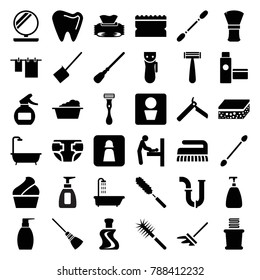 Hygiene icons. set of 36 editable filled hygiene icons such as man wc, baby changing room, shower, bllade razor, razor, electric razor, soap, cotton buds, dustpan, mop
