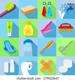 Hygiene icons set. Flat illustration of 16 hygiene must have items vector icons for web