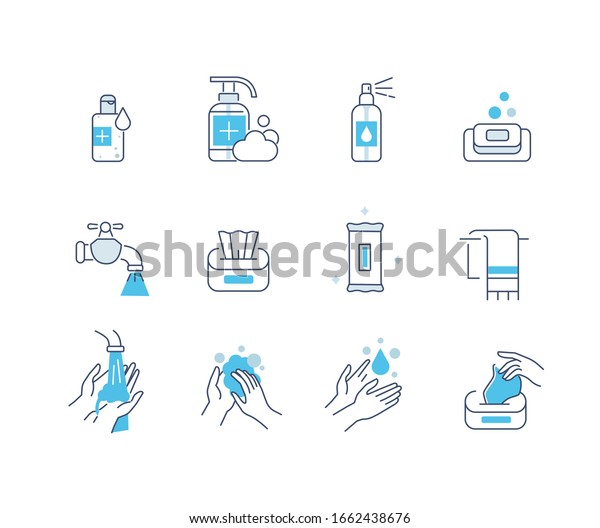 Hygiene Icons Set. Soap, Antiseptic Gel, Cleaning Tissues and other Hygienic Products. Washing Hand with Soap. Cleaning Products Signs Collection. Flat Line Cartoon Vector Illustration.