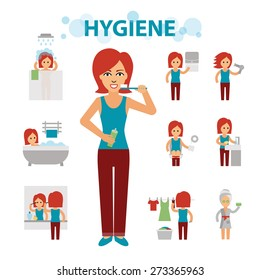 Hygiene infographic elements. Woman is busy, cleanliness, bathing, toilet, laundry, taking a bath, brushing teeth, washing hands, doing makeup. Vector flat illustrations isolated on white background