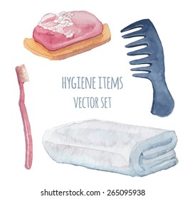 Hygiene items set. Watercolor healthcare objects. Hand drawn vector illustrations: hair comb, towel, toothbrush, soap.