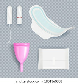 Hygiene ladies. Female pads and tampons for softness clean absorbent products vector realistic set