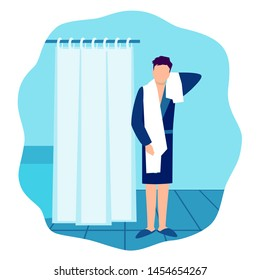 Hygiene: Man in bathrobe and towel in the bathroom. Eps10 vector flat illustration.