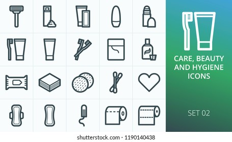 Hygiene and personal care products set icons. Set of razor, shaving foam, depilation strips, deodorant, oral care, feminine pads and tampon icons