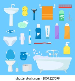 Hygiene personal care vector toiletries set of hygienic bath products and bathroom accessories soap shampoo or shower gel for bodycare icons illustration isolated on background