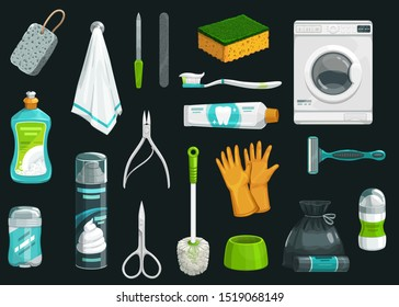 Hygiene product vector icons. Toothpaste, toothbrush and deodorant, towel, shaving foam and shaver, gloves, toilet brush and sponge, dishwashing liquid, garbage bag, washing machine and manicure items