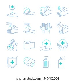 Hygiene and sanitation icons set. Included the icons as washing, clean, soap, bacteria, hand, protection and more.
