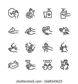 Hygiene thin line icon set 2, vector eps10.