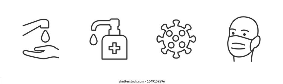 Hygiene vector icon set. Virus care black shape silhouette icons collection. Washing hands, anti bacterial soap, use sanitary antiseptic. Wash hand with soap and water flat design illustration