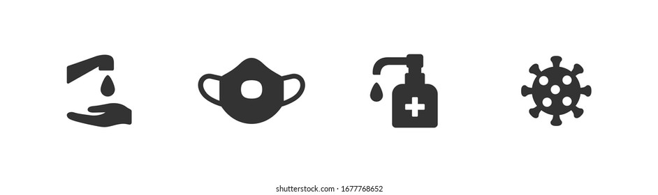 Hygiene vector icon set. Virus care black shape silhouette icons collection. Washing hands, anti bacterial soap, use sanitary antiseptic. Wash hand with soap and water flat design illustration.
