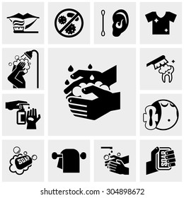 Hygiene vector icons set on gray