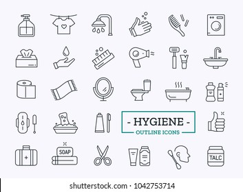 Hygiene vector icons. Thin line Cleaning elements. Bathroom symbols design.