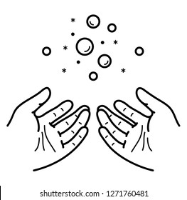 Hygiene. Washing and cleaning hands with soap. Vector flat outline icon illustration isolated on white background.