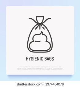 Hygienic bag for dogs thin line icon. Modern vector illustration for pet shop.