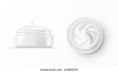 Hygienic Cream In Glass Jar. Top And Side View. EPS10 Vector