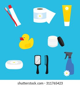 Hygienic set of flat vector items. Bathroom accessories. Vector hygiene and cleaning products flat icons.Toilet paper, toothpaste and toothbrush, cream, soap, mirror and comb