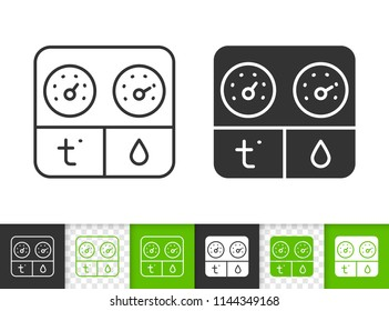 Hygrometer black linear and silhouette icons. Thin line sign of thermometer. Barometr outline pictogram isolated on white green transparent backdrop. Vector Icon shape Hygrometer simple symbol closeup