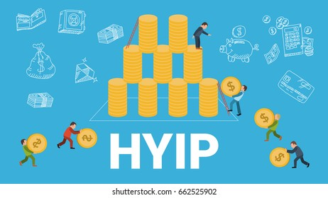 HYIP concept vector illustration of people collecting money or coins making investments for project. Flat design of high yield investment program letters