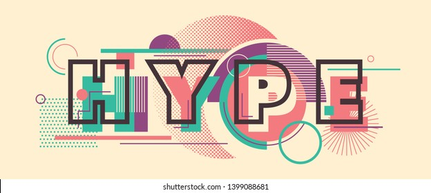 5a34c958 Hype banner design in modern style with various geometric shapes in colors.  Vector illustration.